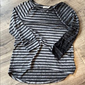 Long sleeve striped distressed tunic